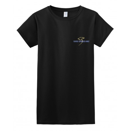 Eagle Express Lines Womens 64000L Gildan SoftStyle Fitted-T - Black