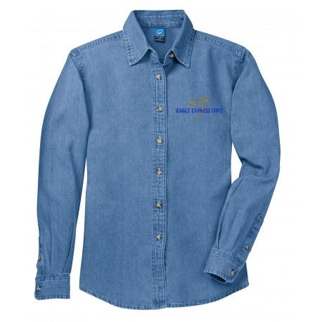 LSP10 Port & Co Ladies L/S Denim - Faded Blue