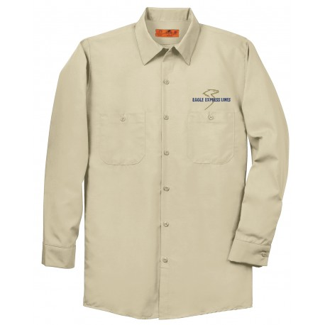 Eagle Express Lines SP14 Red Kap Industrial Long Sleeve Work Shirt - Tan
