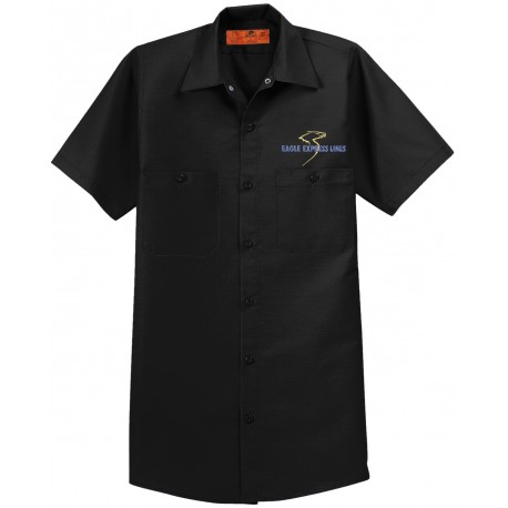Eagle Express Lines SP24 4.25oz Red Kap Industrial Short Sleeve Work Shirt - Black