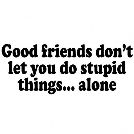 Good Friends Don't Let You Do Stupid Things Alone