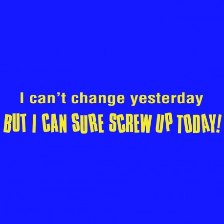 I Can't Change Yesterday But I Can Sure Screw Up Today
