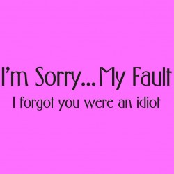 I'm Sorry My Fault I Forgot You Were An Idiot