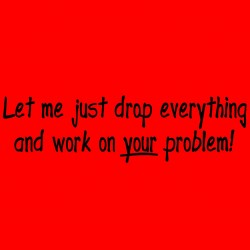 Let Me Just Drop Everything And Work on Your Problems