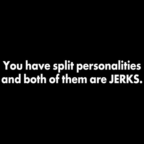 You Have Split Personalities And Both Of Them Are Jerks