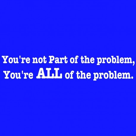 You're Not Part Of The Problem You're All Of The Problem